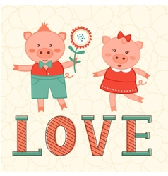 Cute card with two pigs in love vector