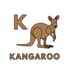 Cute cartoon animals alphabet kangaroo vector