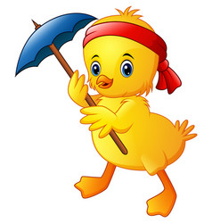 Cute cartoon duck with blue umbrella and red headb vector