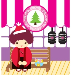 Cute doodle japanese men in cristmas vector