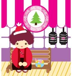 Cute doodle japanese men in cristmas vector
