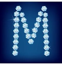 diamond alphabet letter m vector image