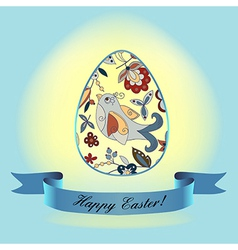 Easter bird blueribbon vector