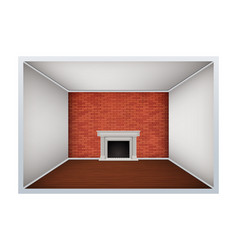 empty room with brick wall and fireplace vector image