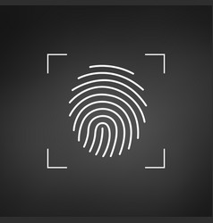 fingerprint simple icon for logo or app scan vector image