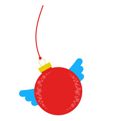Flat insulated red ball with wings simple drawing vector