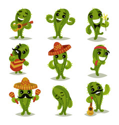flat set of funny green cacti in different vector image
