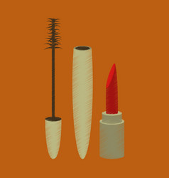 Flat shading style icon mascara and lipstick vector