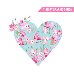Floral spring heart design with cherry blossom vector