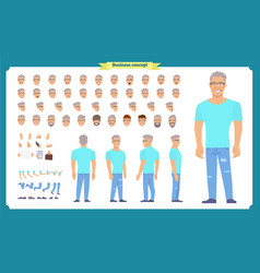 Front side back view animated character set vector
