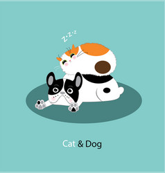 Funny dog and cat vector