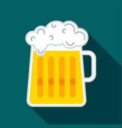 Glass beer mug with beer and a cap of white fluffy vector