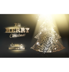 Gold ornamental fir-tree vector image