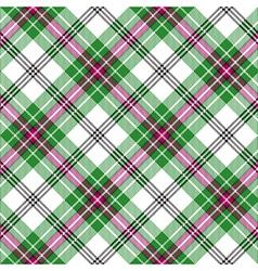 Green white pink tartan diagonal plaid seamless vector