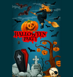 Halloween party banner with witch and pumpkin vector