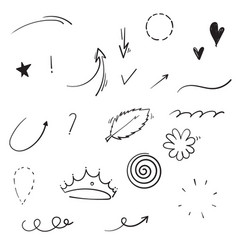 hand drawn collection swishes swoops emphasis vector image