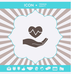 hand holding heart medical icon graphic elements vector image