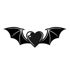 heart with bat wings tattoo style object vector image