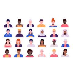 Human faces cartoon minimal men and women trendy vector
