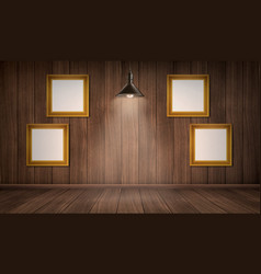 interior wooden room with frames and lamp vector image