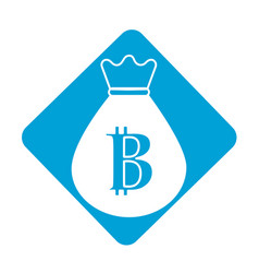 Label bag with bitcoin currency digital symbol vector