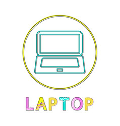 laptop round linear bright icon for modern apps vector image