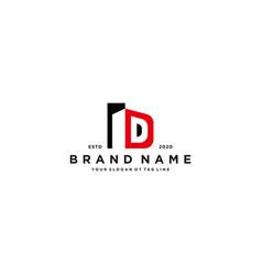 Letter d and building logo design vector