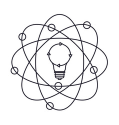 light bulb and atom around monochrome silhouette vector image