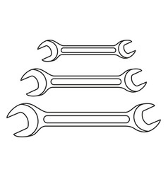 line art black and white spanner set vector image