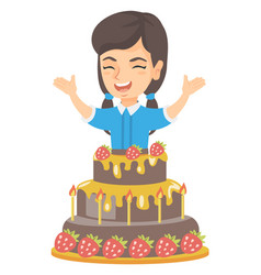 little caucasian girl jumping out of a large cake vector image