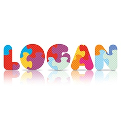 LOGAN written with alphabet puzzle vector