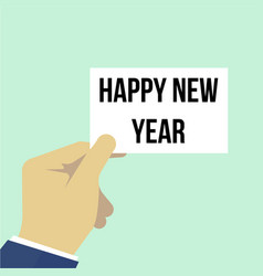 man showing paper happy new year vector image