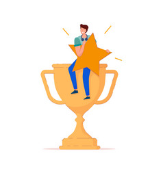 man with rating star on trophy cup isolated icon vector image