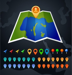 Map with gps and pin icon vector