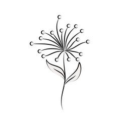 minimalist tattoo flower berries leaves line art vector image