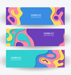 modern colorful paper cut art design templates set vector image
