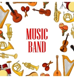 Musical instruments placed around text Music Band vector