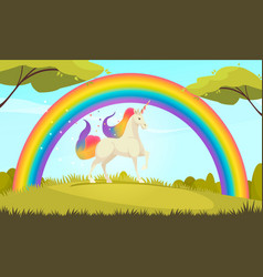 Mystical creatures unicorn rainbow vector