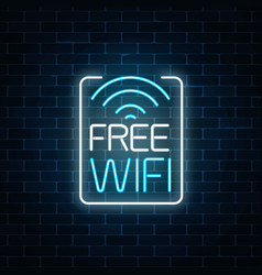 Neon sign of free wifi zone in rectangle frame on vector