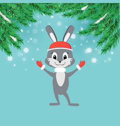 new year greeting card with cartoon bunny in red vector image