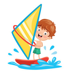 Of kid windsurfing vector