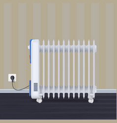 oil radiator in room with wallpaper on backdrop vector image