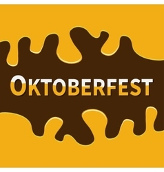 Oktoberfest beer flowing down alcohol frame flat vector