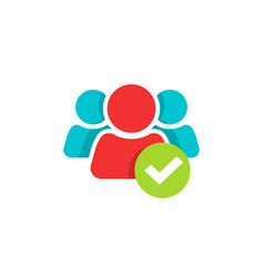 People group and checkmark icon flat vector