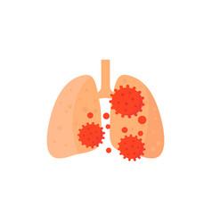 Pneumonia icon virus in lungs vector