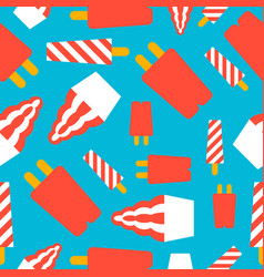 Popsicle ice cream seamless pattern flat design vector