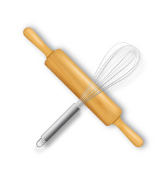Realistic 3d wooden rolling pin and metal vector