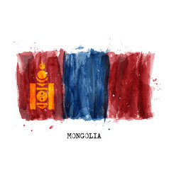Realistic watercolor painting flag mongolia vector