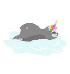 Resting on cloud sloth unicorn vector