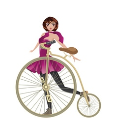 Retro Bike and Girl vector